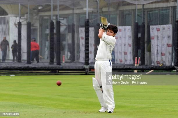 Sachin Tendulkar's son Arjun Tendulkar bats during a practice session at Lord's Cricket Ground London