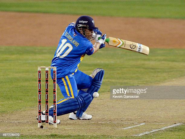 Sachin's Blasters batsman Sachin Tendulkar plays a shot during the final game of a threematch three city US tour of Twenty20 series of Cricket...