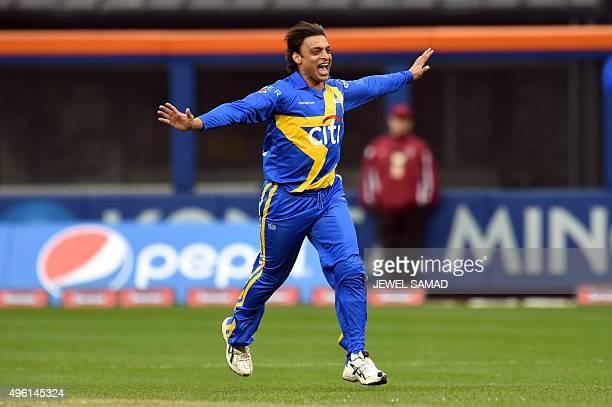 Sachin's Blasters bowler Shoaib Akhtar celebrates dismissing Warne's Warriors batsman Matthew Hayden during the first of a threematch T20 series...