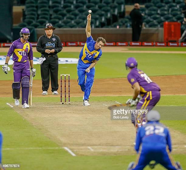 Sachin's Blasters Glenn McGrath bowls during the Cricket AllStars Series at Minute Maid Park on November 11 2015 in Houston Texas