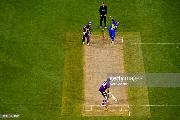 Sachin's Blasters player Shoaib Akhtar bowls to Warne's Warriors player Andrew Symonds during a match in the Cricket AllStars Series at Citi Field on...
