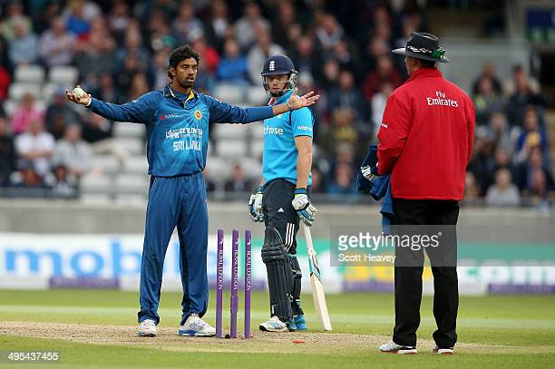 Sachithra Senanayake of Sri Lanka appeals to the umpire for a run out of Jos Buttler at the non strikers end during the 5th ODI Royal London One Day...