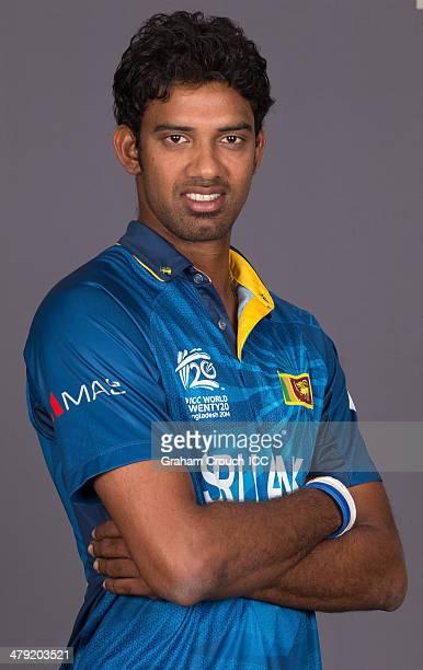 Sachithra Senanayake of Sri Lanka at the headshot session at the Pan Pacific Hotel Dhaka in the lead up to the ICC World Twenty20 Bangladesh 2014 on...