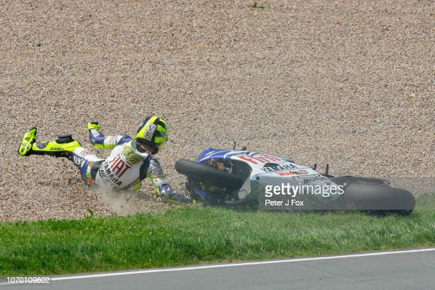 Valentino Rossi of Italy and Yamaha crashes out during the MotoGP race at the Sachsenring Circuit on July 15 2007 in Germany