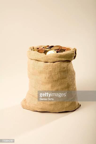 A sack of euro coins