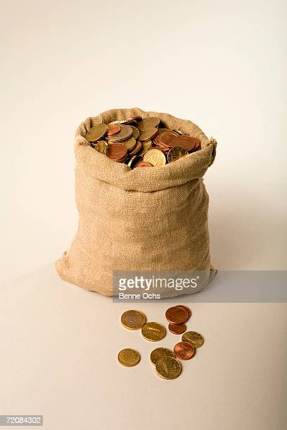 A sack of euro coins