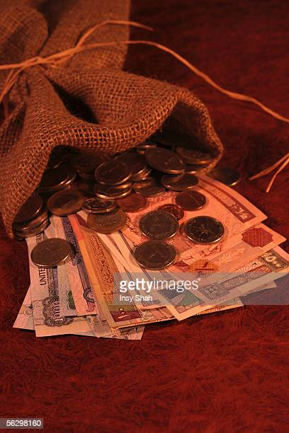 a sack of money - gulf countries stock pictures, royalty-free photos & images