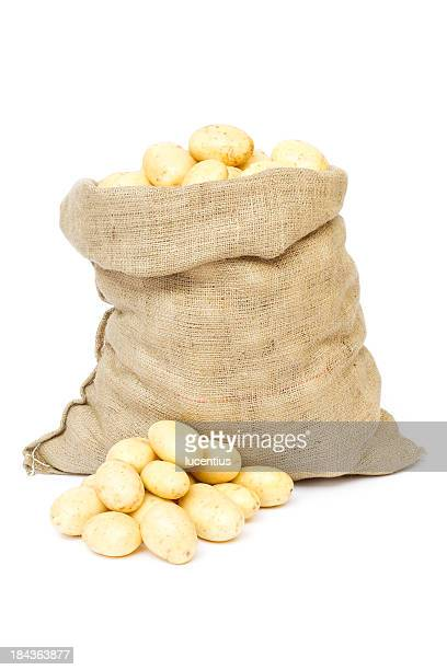 sack of potatoes isolated on white - sack stock pictures, royalty-free photos & images