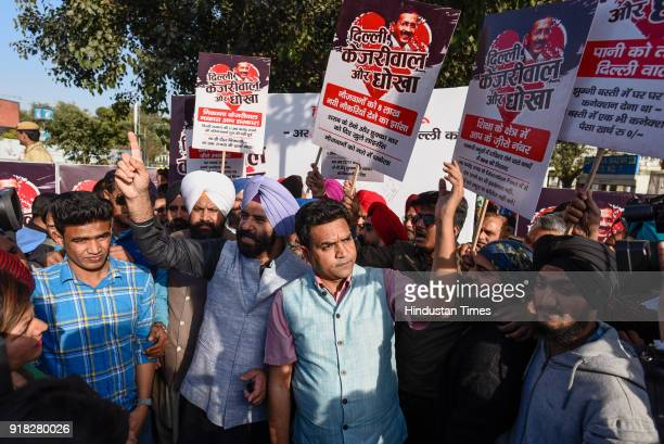Sacked AAP MLA Kapil Mishra and BJP MLA Manjinder Singh Sirsa protested against Delhi Chief Minister Arvind Kejriwal and Aam Aadmi Party's completion...
