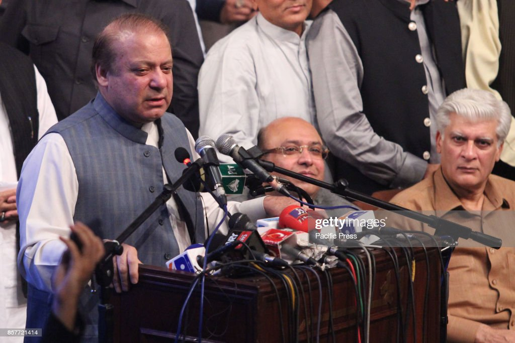 Sacked Pakistani Prime Minister Nawaz Sharif addresses the PMLN Workers convention in Lahore on October 04 2017 The Supreme Court deposed Sharif in...