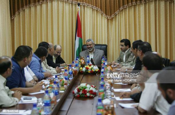 Sacked Palestinian prime minister Ismail Haniya attends a meeting with Palestinian businessmen in his office in Gaza City 17 July 2007 US President...