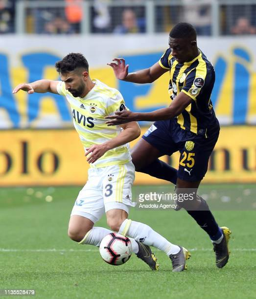 Sacko of MKE Ankaragucu and Hasan Ali Kaldirim of Fenerbahce vie for the ball during Turkish Super Lig soccer match between MKE Ankaragucu and...