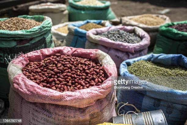 sacks of beans and pulses - kenya stock pictures, royalty-free photos & images