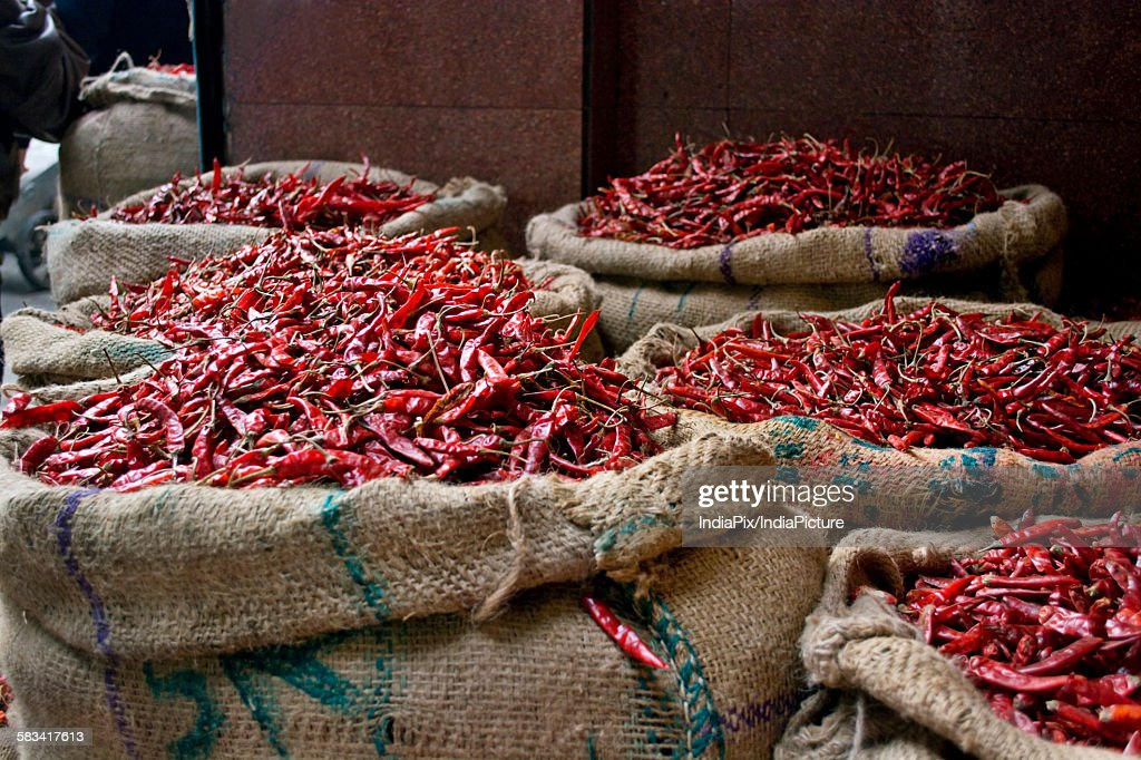 Sacks of Dried chillies for sale at the market : Stock Photo