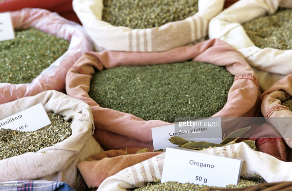 Sacks of dried herbs and spices, close up : Stock Photo