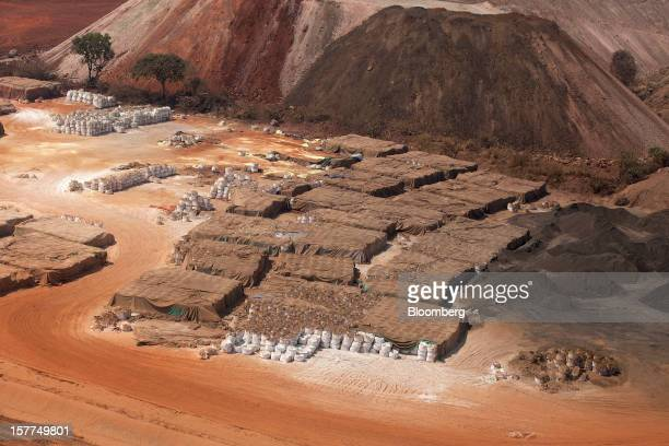 Sacks of low grade copper stand before shipping at the Mutanda copper and cobalt mine in Mutanda Katanga province Democratic Republic of Congo on...