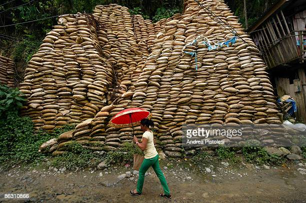 Sacks of mined rock awaiting processing in the mining settlement of Barangay, on Mount Diwata , Compostela Valley, on Mindao Island in the Southern...