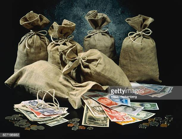 Sacks of mixed European currency