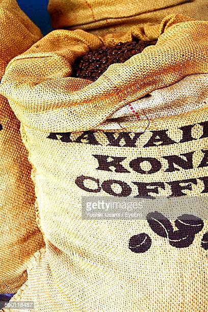 Sacks Of Roasted Coffee Beans At Market Stall