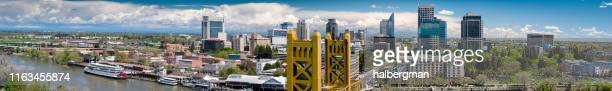 sacramento by day - aerial panorama - sacramento stock pictures, royalty-free photos & images