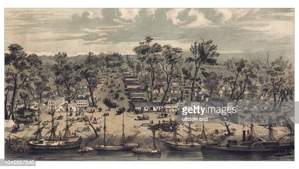 Sacramento city California From the foot of J Street showing I J K Sts with the Sierra Nevada in the distance New York 1849