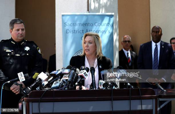 Sacramento district attorney Anne Marie Schubert announces the arrest of accused rapist and killer Joseph James DeAngelo during a news conference on...