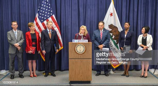 Sacramento District Attorney Anne Marie Schubert during a press conference about the Golden State Killer surrounded by fellow district attorneys Tim...