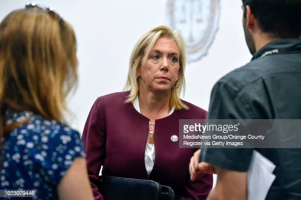 Sacramento District Attorney Anne Marie Schubert talks with the media after a press conference about the Golden State Killer in Santa Ana CA on...