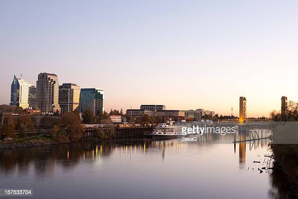 sacramento downtown at sunset - sacramento stock pictures, royalty-free photos & images