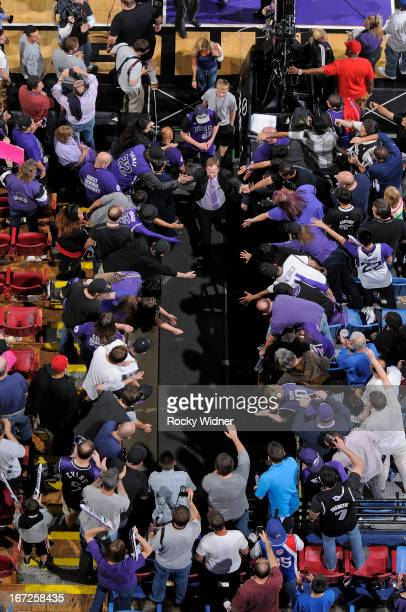 Sacramento Kings announcer Grant Napear greets fans while exiting after the game against the Los Angeles Clippers on April 17 2013 at Sleep Train...