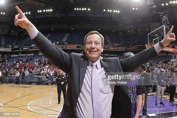 Sacramento Kings announcer Grant Napear points to the crowd after the game against the Los Angeles Clippers on April 17 2013 at Sleep Train Arena in...