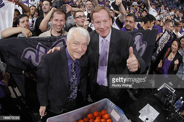 Sacramento Kings announcers Grant Napear and Jerry Reynolds take a picture after the game against the Los Angeles Clippers on April 17 2013 at Sleep...