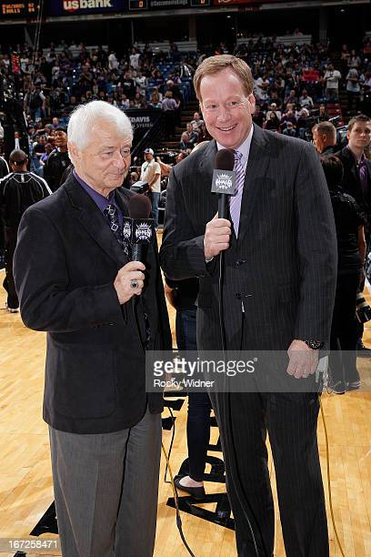 Sacramento Kings announcers Jerry Reynolds and Grant Napear during the game between the Los Angeles Clippers and Sacramento Kings on April 17 2013 at...