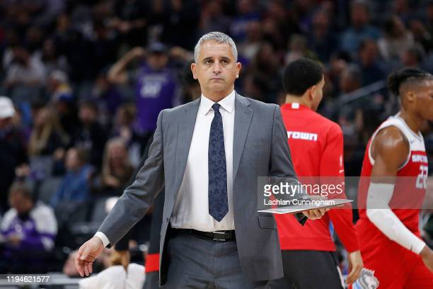 Sacramento Kings assistant coach Igor Kokoskov looks on during a time out against the Oklahoma City Thunder at Golden 1 Center on December 11, 2019...