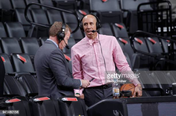 Sacramento Kings broadcaster Grant Napear and announcer Doug Christie look on prior to the game against the Dallas Mavericks on March 27 2018 at...