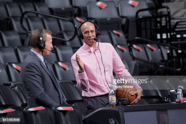 Sacramento Kings broadcaster Grant Napear and announcer Doug Christie prior to the game between the Dallas Mavericks and Sacramento Kings on March 27...