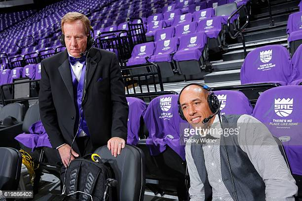 Sacramento Kings broadcaster Grant Napear and Former NBA player Doug Christie look on prior to the game between the San Antonio Spurs and Sacramento...