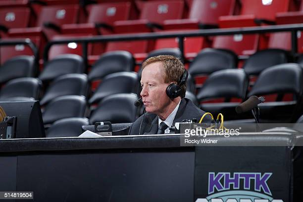 Sacramento Kings broadcaster Grant Napear looks on prior to the game between the Oklahoma City Thunder and Sacramento Kings on February 29 2016 at...