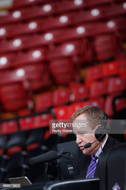Sacramento Kings broadcaster Grant Napear prior to the game against the Los Angeles Lakers on April 13 2015 at Sleep Train Arena in Sacramento...