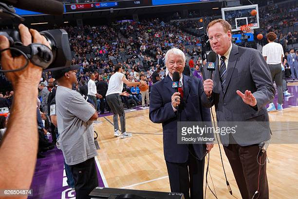 Sacramento Kings broadcaster Jerry Reynolds and Grant Napear during the game between the Los Angeles Clippers and Sacramento Kings on November 18...