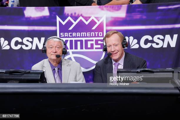 Sacramento Kings broadcaster Jerry Reynolds and Grant Napear look on during the game against the Detroit Pistons on January 10 2017 at Golden 1...