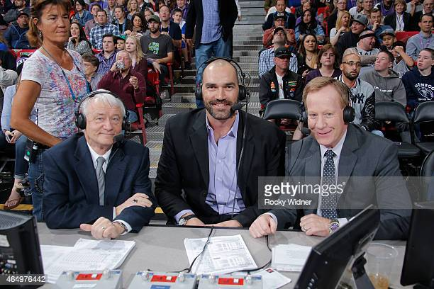 Sacramento Kings broadcasters Jerry Reynolds and Grant Napear and former NBA player Scot Pollard during the game between the San Antonio Spurs and...