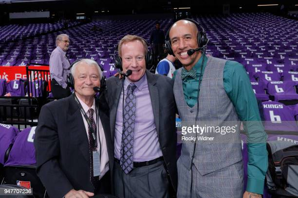Sacramento Kings broadcasters Jerry Reynolds and Grant Napear and announcer Doug Christie pose for a photo prior to the game against the Houston...