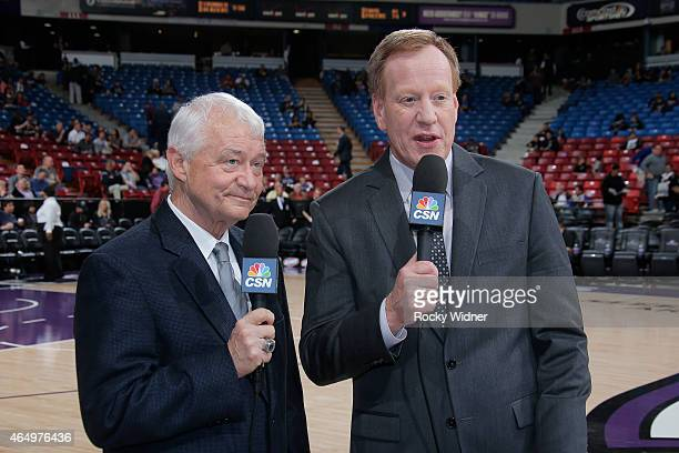 Sacramento Kings broadcasters Jerry Reynolds and Grant Napear cover the game between the San Antonio Spurs and Sacramento Kings on February 27 2015...