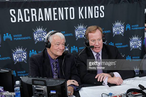 Sacramento Kings broadcasters Jerry Reynolds and Grant Napear during the game between the Denver Nuggets and Sacramento Kings on October 30 2013 at...