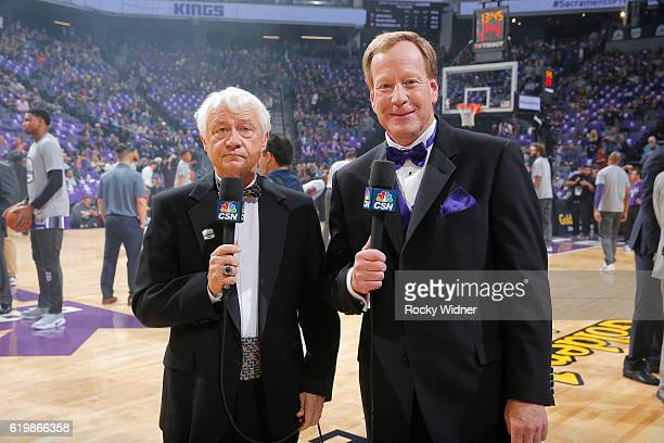 Sacramento Kings broadcasters Jerry Reynolds and Grant Napear during the game between the San Antonio Spurs and Sacramento Kings on October 27 2016...
