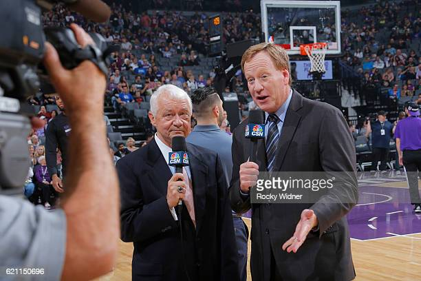 Sacramento Kings broadcasters Jerry Reynolds and Grant Napear during the game between the Minnesota Timberwolves and Sacramento Kings on October 29...