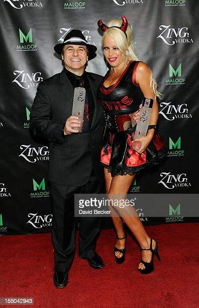 Sacramento Kings coowner Gavin Maloof and model Bobbi Billard appear at the ZING Vodka's Las Vegas Launch Party at his home on October 30 2012 in Las...