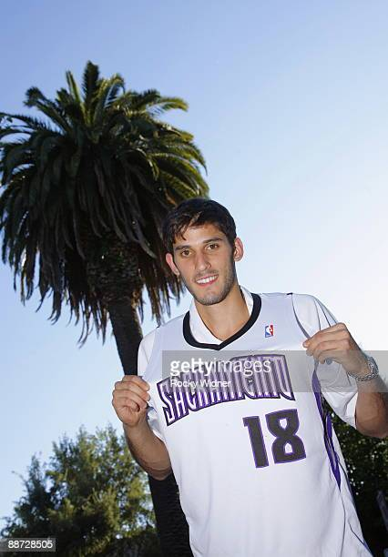 Sacramento Kings draft pick Omri Casspi smiles for the camera during a rally to meet the new Kings on June 27 2009 at Marshall Park in Sacramento...
