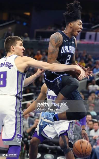 Sacramento Kings forward Bogdan Bogdanovic knocks the ball away from Orlando Magic guard Elfrid Payton on Tuesday January 23 2018 at the Amway Center...
